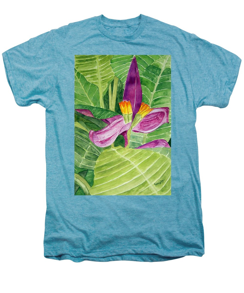Flower Art Men's Premium T-Shirt featuring the painting Bananas In October by Larry Wright