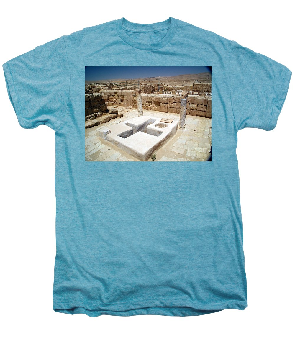 Baptistery Men's Premium T-Shirt featuring the photograph Baptistery Eastern Church Mamshit Israel by Avi Horovitz