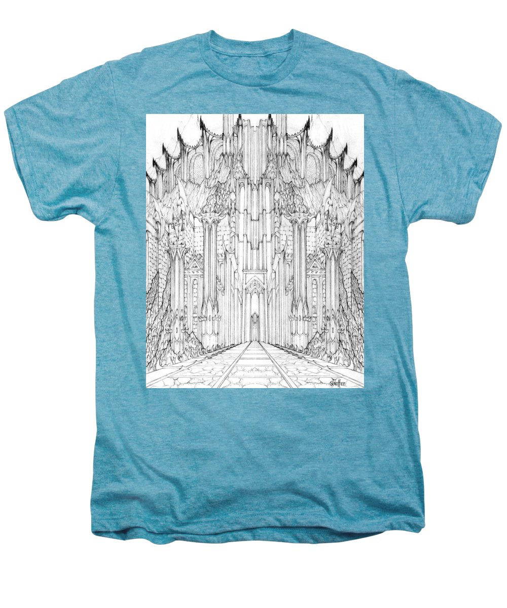 Barad-dur Men's Premium T-Shirt featuring the drawing Barad-dur Gate Study by Curtiss Shaffer