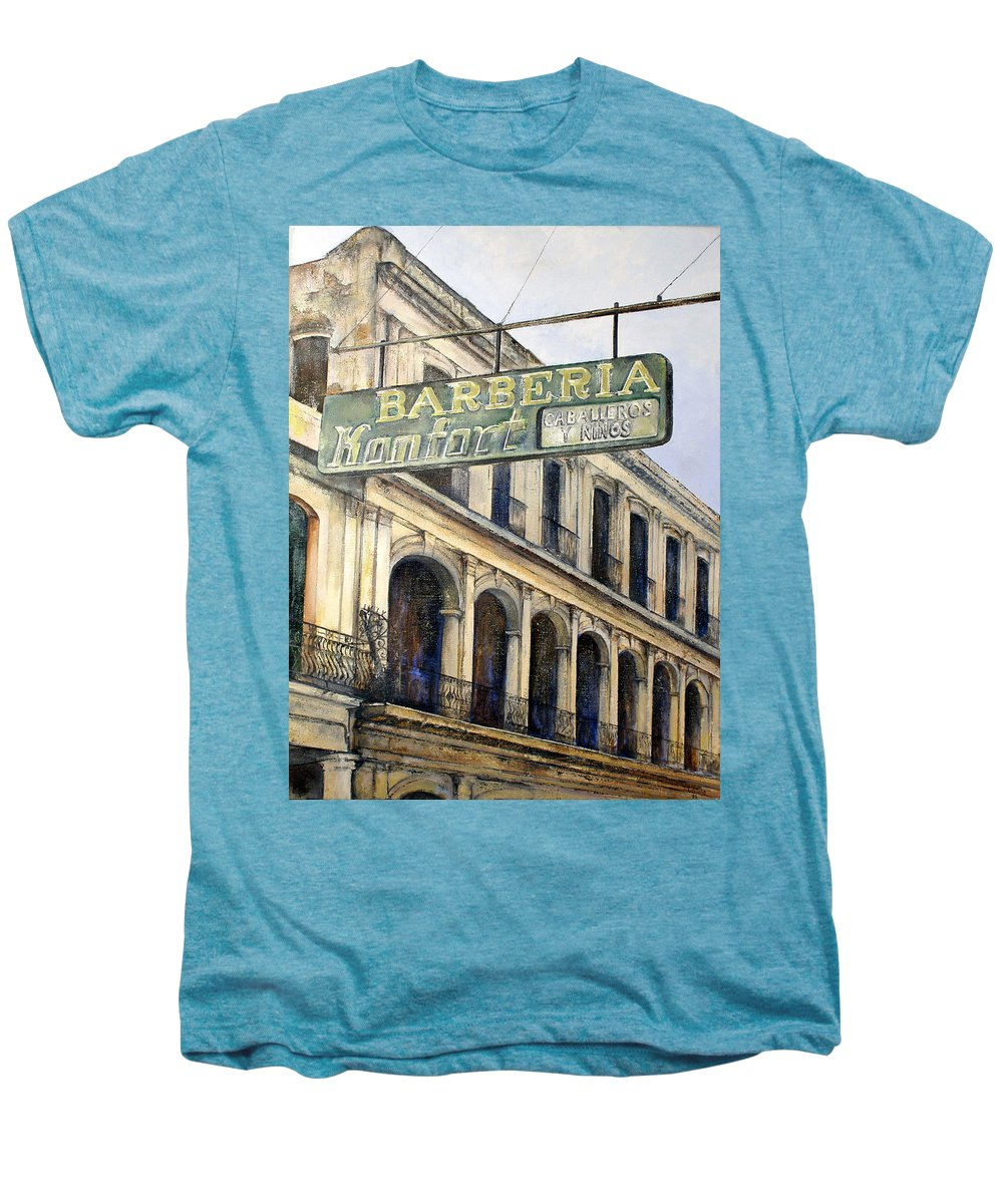 Konfort Barberia Old Havana Cuba Oil Painting Art Urban Cityscape Men's Premium T-Shirt featuring the painting Barberia Konfort by Tomas Castano