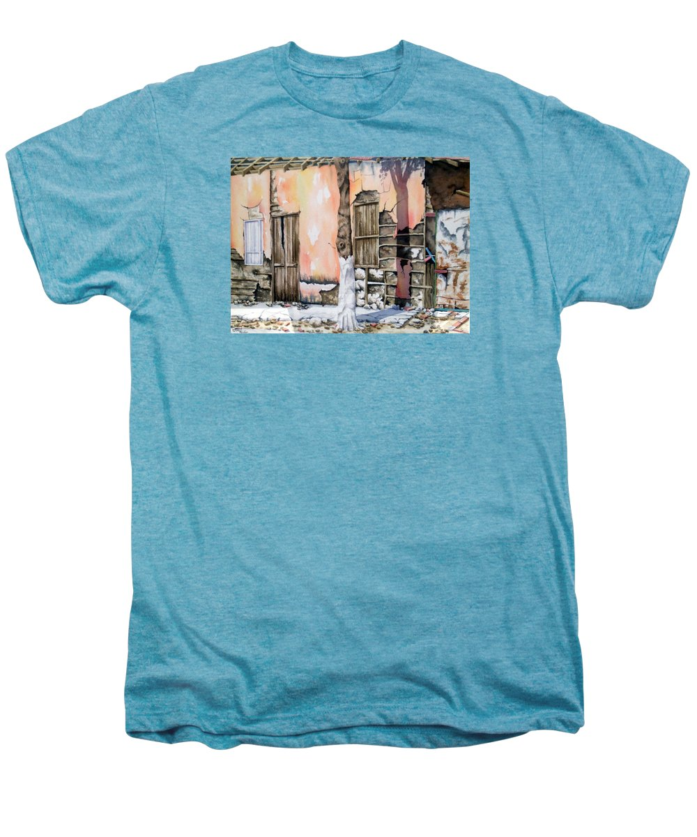 Lanscape Men's Premium T-Shirt featuring the painting Bareque II by Tatiana Escobar