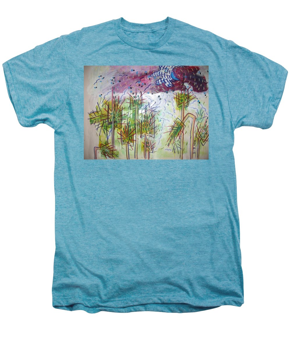 Barly Paintings Men's Premium T-Shirt featuring the painting Barly And The Blue Moon by Seon-Jeong Kim
