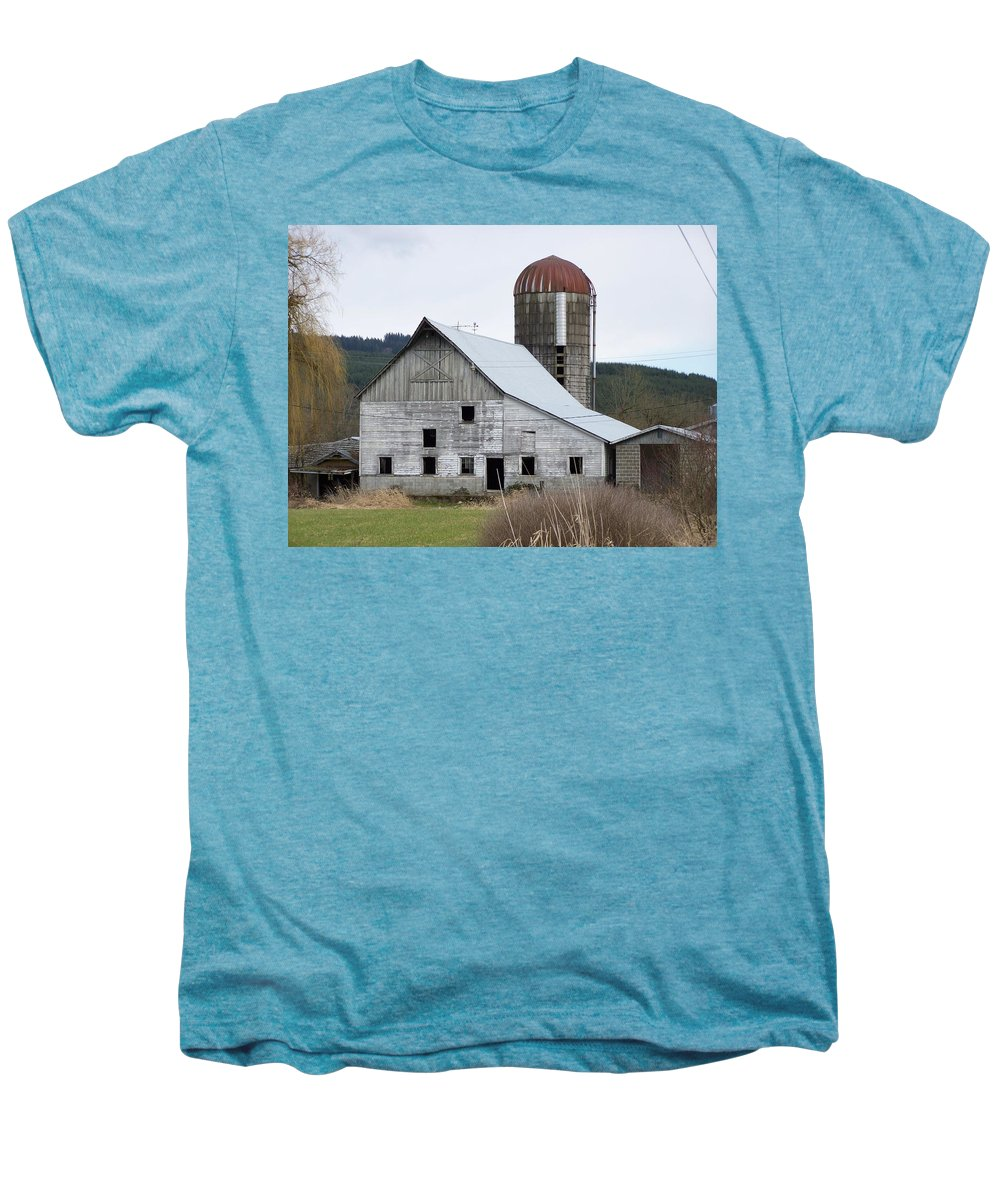 Digital Photography Men's Premium T-Shirt featuring the photograph Barn And Silo by Laurie Kidd