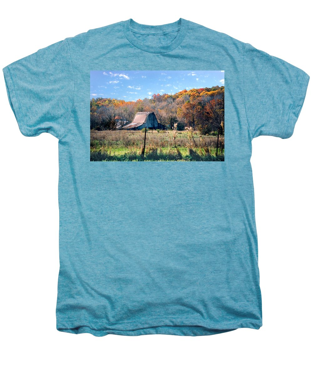 Landscape Men's Premium T-Shirt featuring the photograph Barn In Liberty Mo by Steve Karol