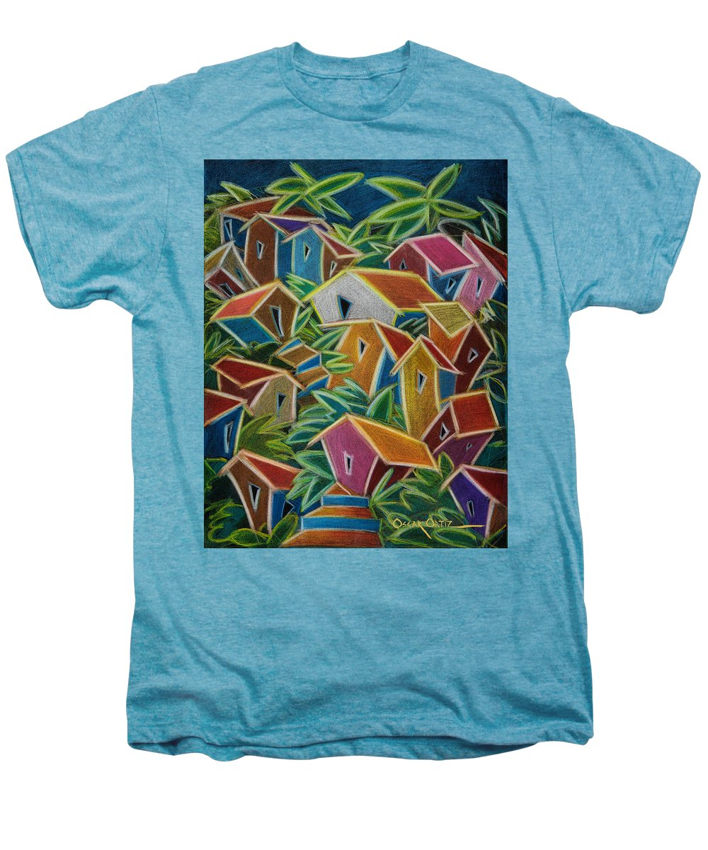 Landscape Men's Premium T-Shirt featuring the painting Barrio Lindo by Oscar Ortiz