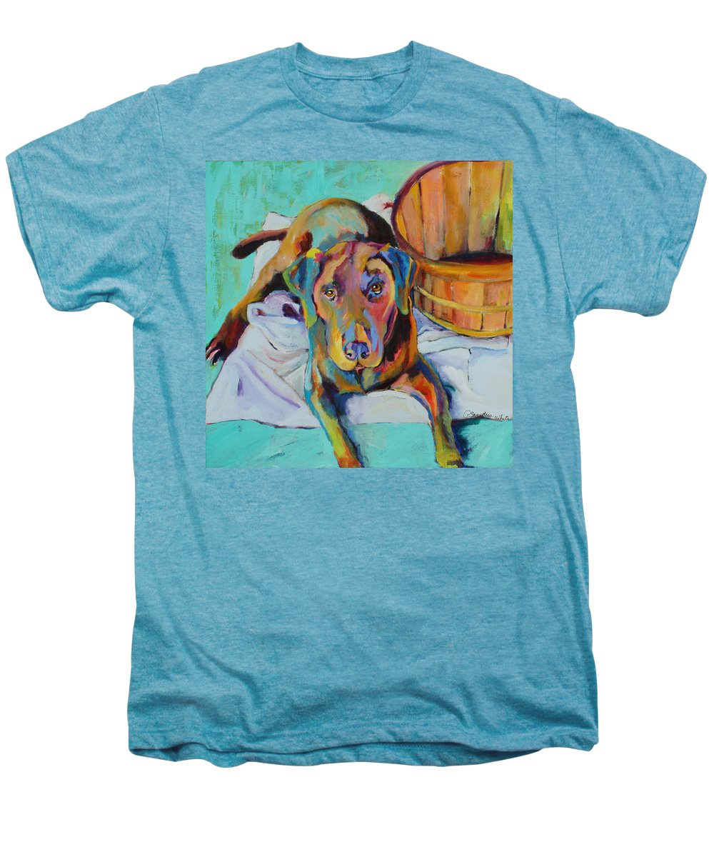 Chocolate Lab Men's Premium T-Shirt featuring the painting Basket Retriever by Pat Saunders-White