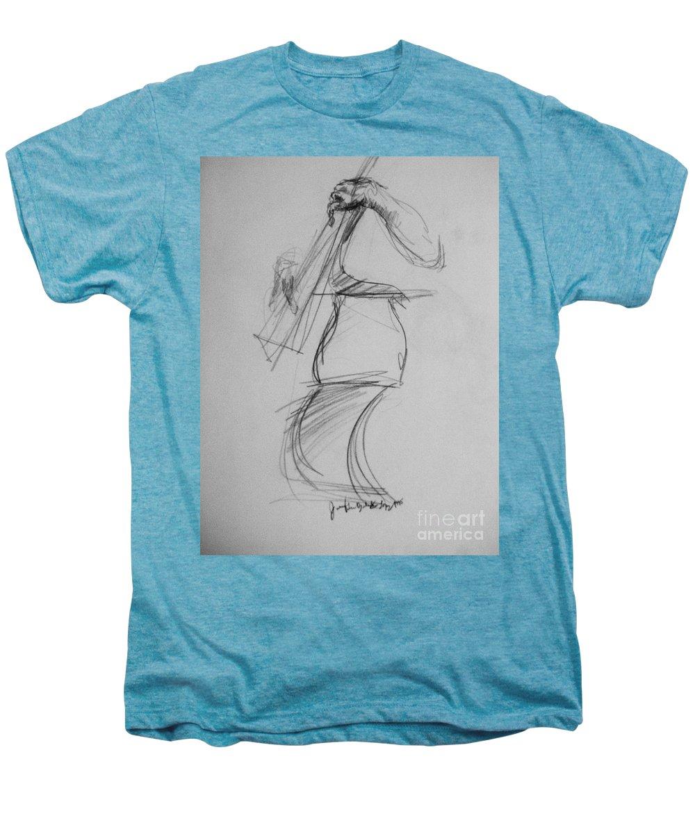 Bass Men's Premium T-Shirt featuring the drawing Bass Man by Jamey Balester