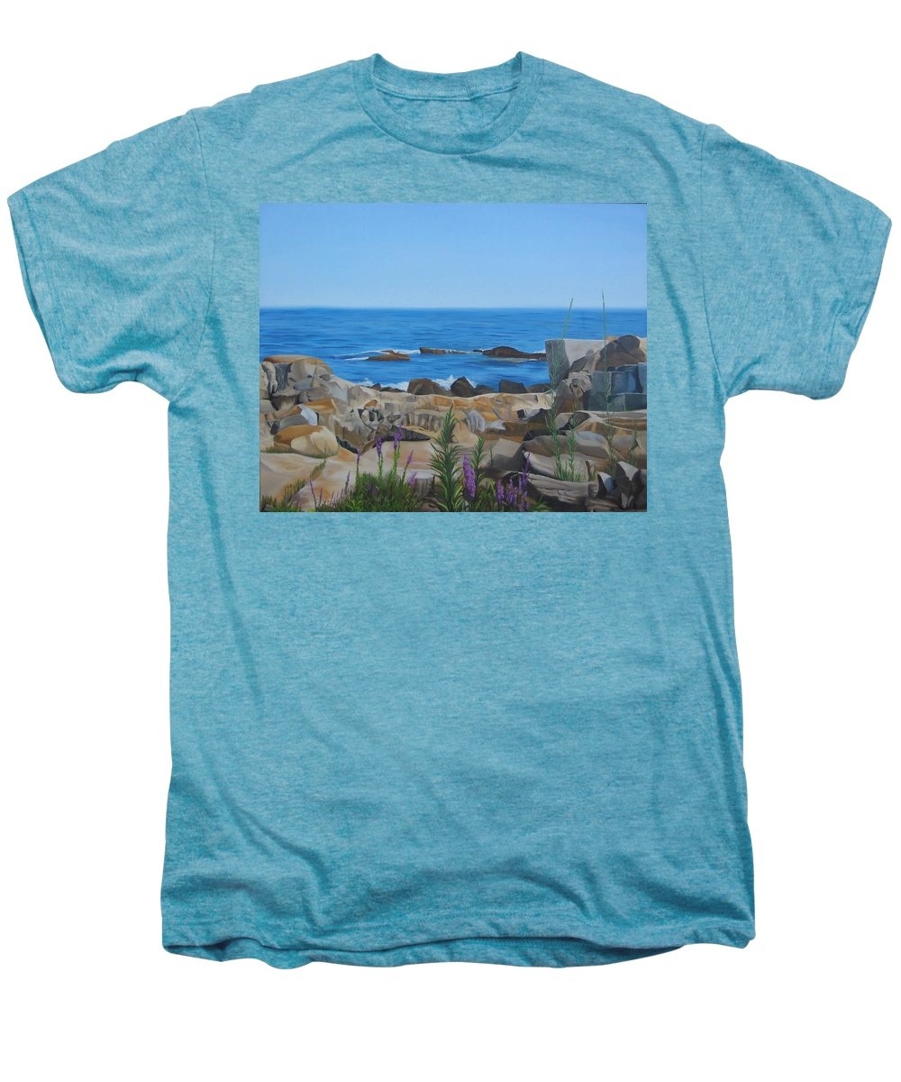 Seascape Men's Premium T-Shirt featuring the painting Bass Rocks Gloucester by Lea Novak