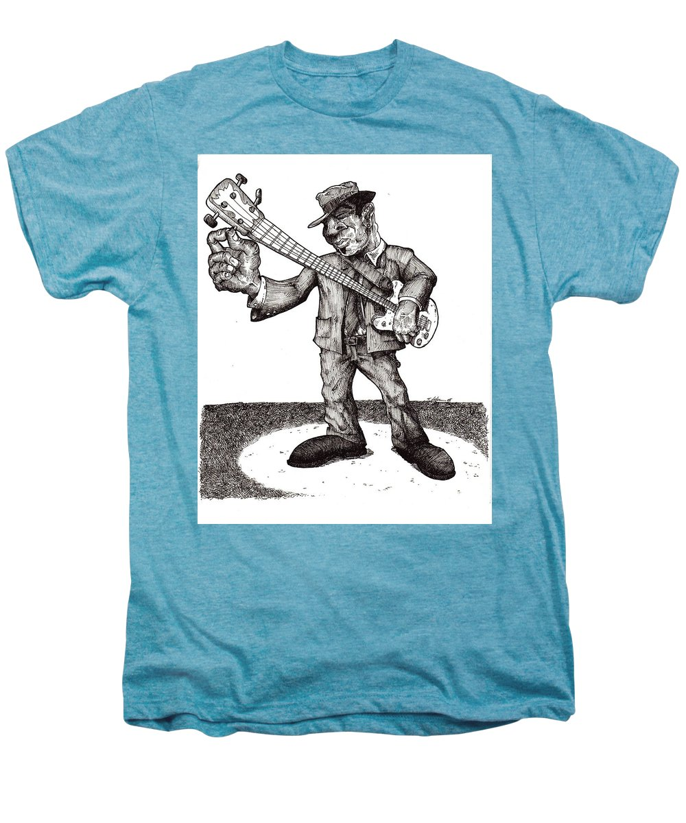 Blues Men's Premium T-Shirt featuring the drawing Bass by Tobey Anderson