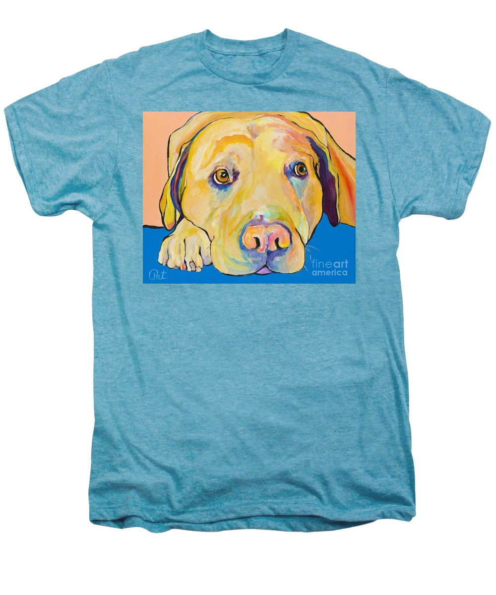 Dog Paintings Yellow Lab Puppy Colorful Animals Pets Men's Premium T-Shirt featuring the painting Bath Time by Pat Saunders-White