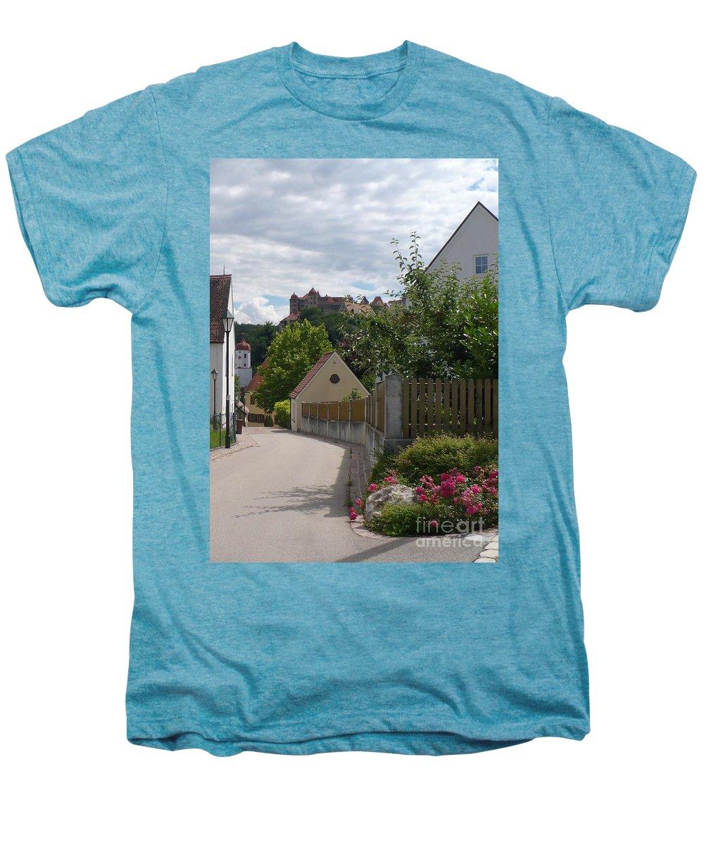 Castle Men's Premium T-Shirt featuring the photograph Bavarian Village With Castle View by Carol Groenen