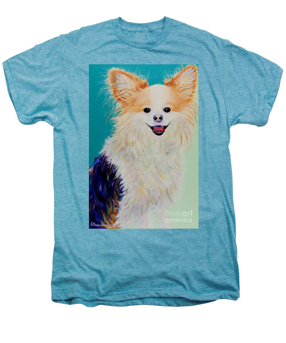 Animal Men's Premium T-Shirt featuring the painting Baxter by Pat Saunders-White
