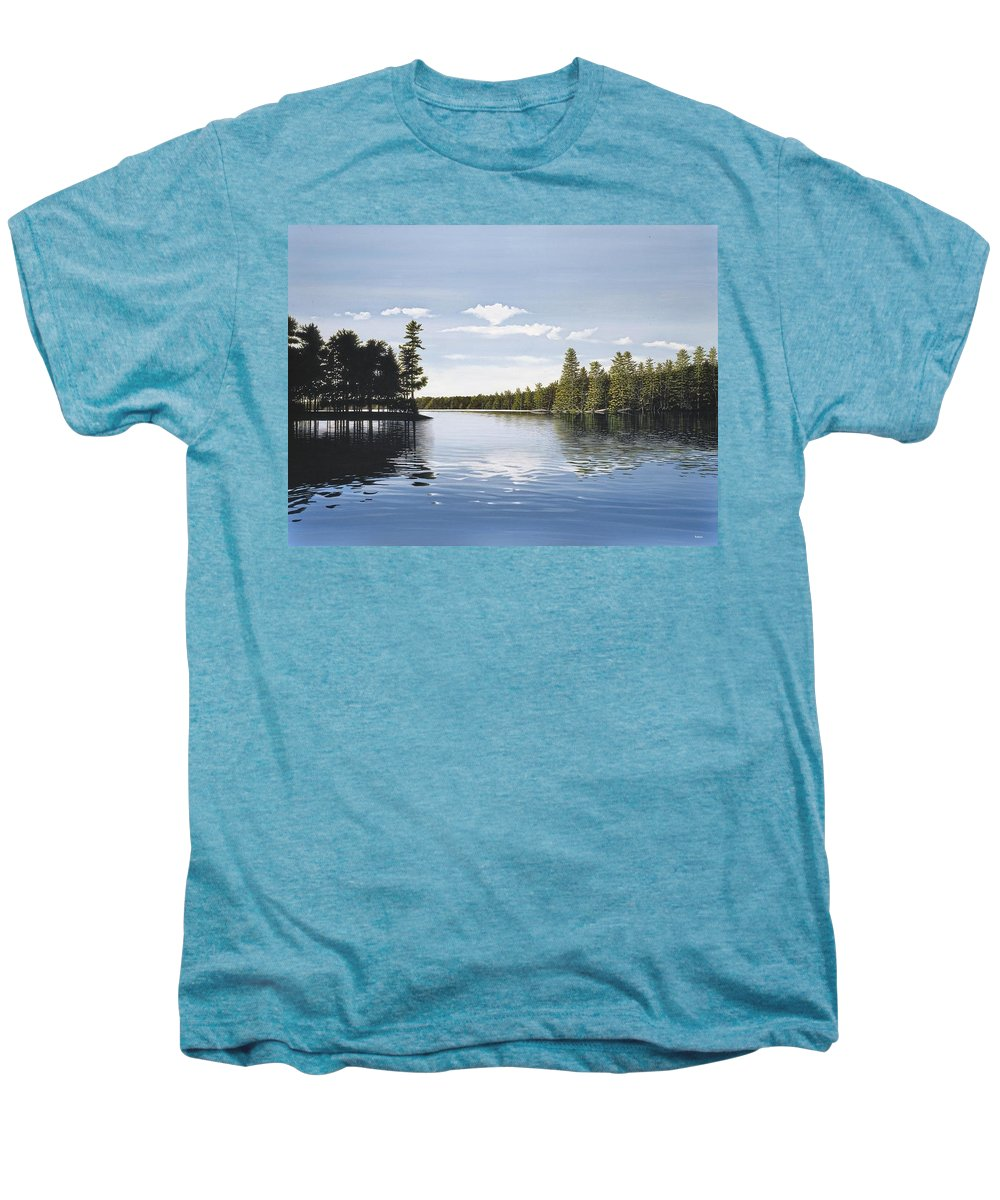Landscapes Men's Premium T-Shirt featuring the painting Bay On Lake Muskoka by Kenneth M Kirsch