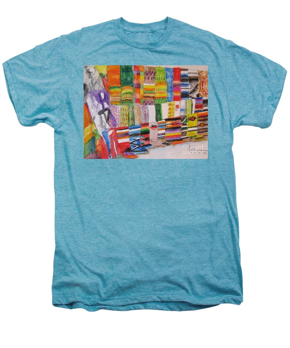 Bright Colors Men's Premium T-Shirt featuring the painting Bazaar Sabado - Gifted by Judith Espinoza