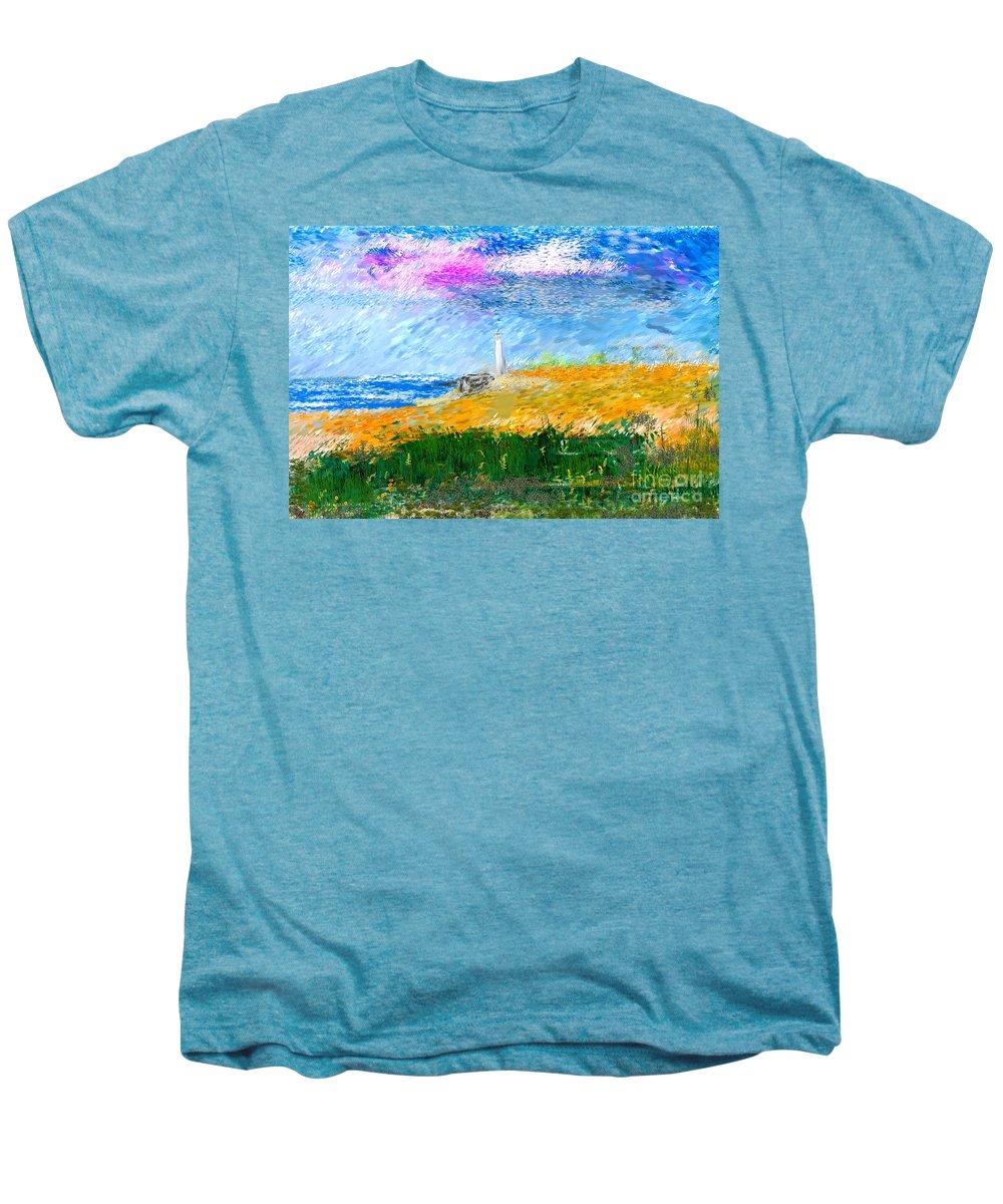 Digital Painting Men's Premium T-Shirt featuring the digital art Beach Lighthouse by David Lane