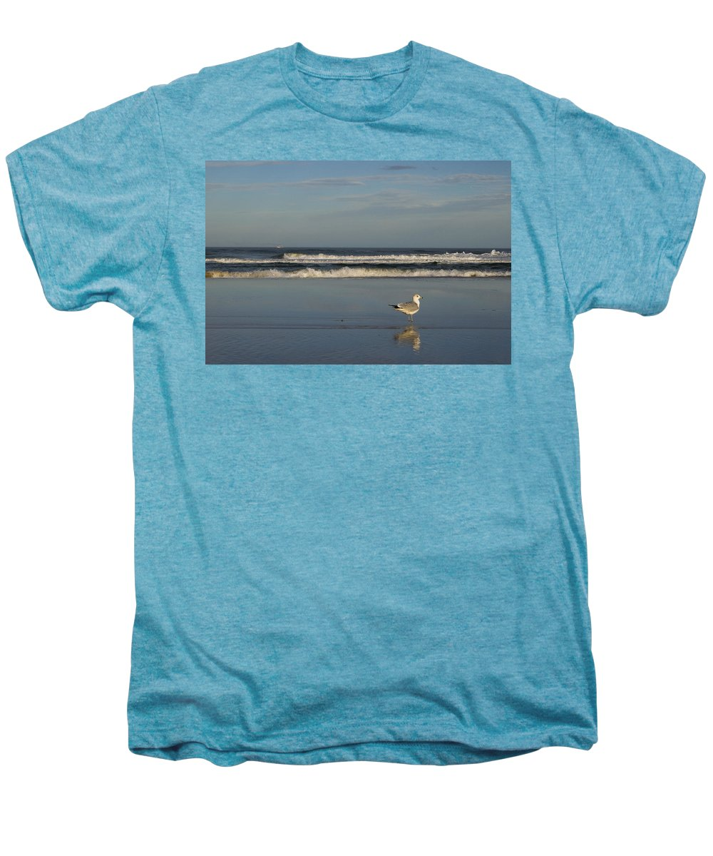 Sea Ocean Gull Bird Beach Reflection Water Wave Sky Men's Premium T-Shirt featuring the photograph Beach Patrol by Andrei Shliakhau