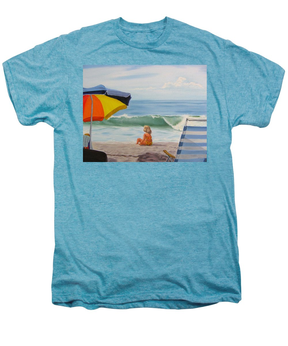 Seascape Men's Premium T-Shirt featuring the painting Beach Scene - Childhood by Lea Novak