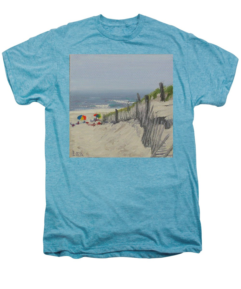 Beach Men's Premium T-Shirt featuring the painting Beach Scene Miniature by Lea Novak
