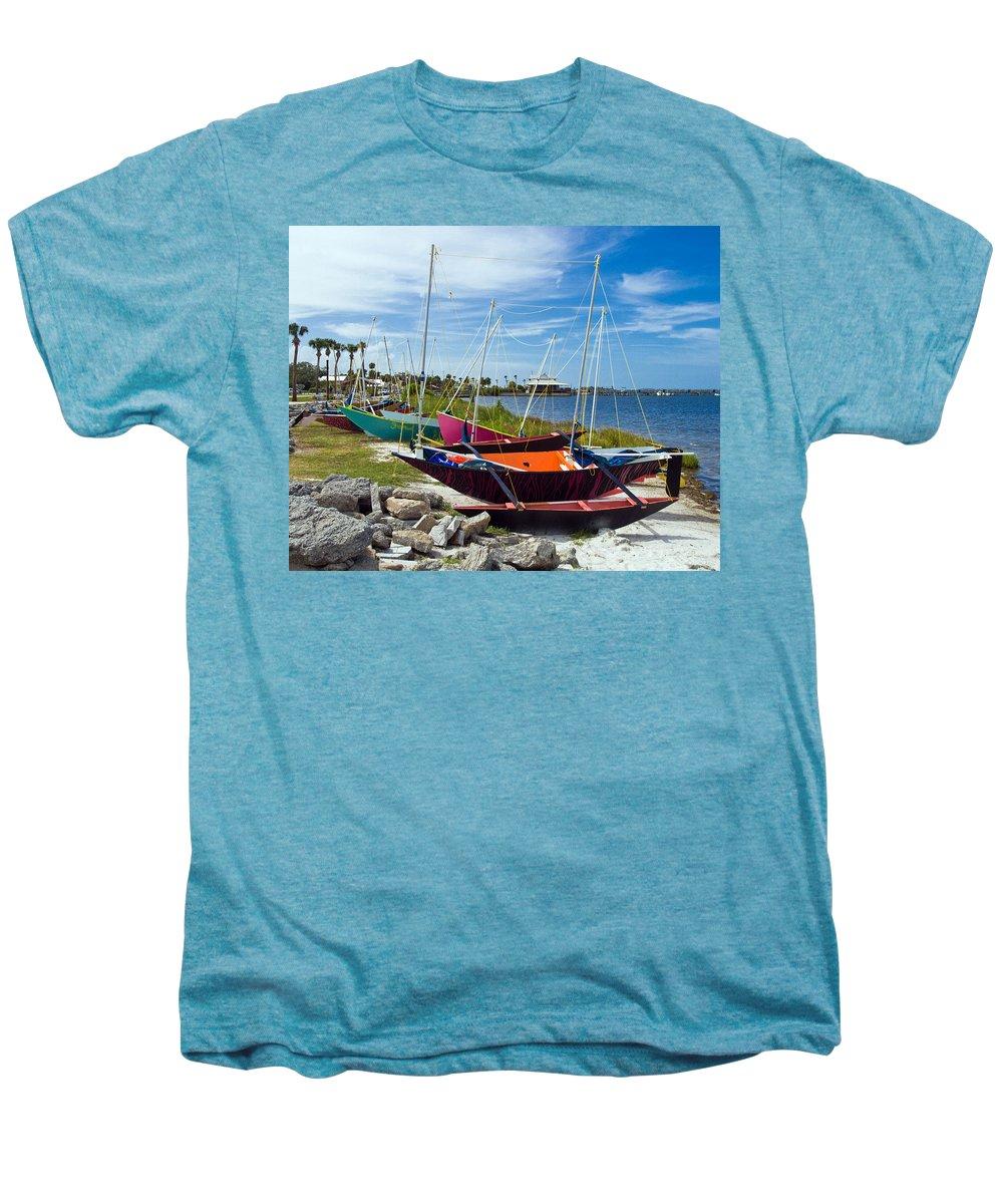 Sail; Sailing; Boat; Sailboat; Mast; Plywood; Homemade; Boy; Scouts; Fleet; Class; Dragon; Tiller; F Men's Premium T-Shirt featuring the photograph Beached In Sebastian Florida by Allan Hughes