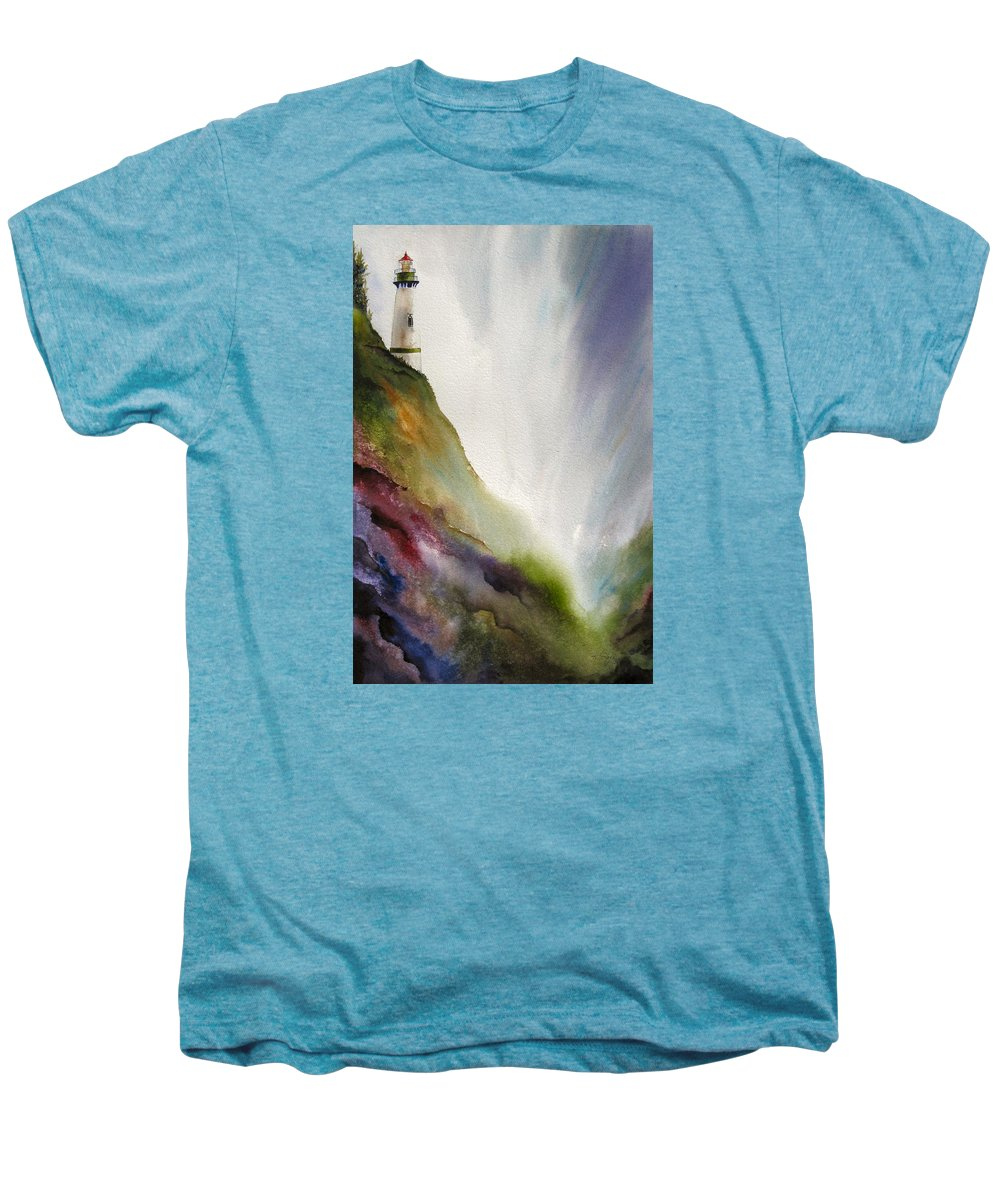 Lighthouse Men's Premium T-Shirt featuring the painting Beacon by Karen Stark