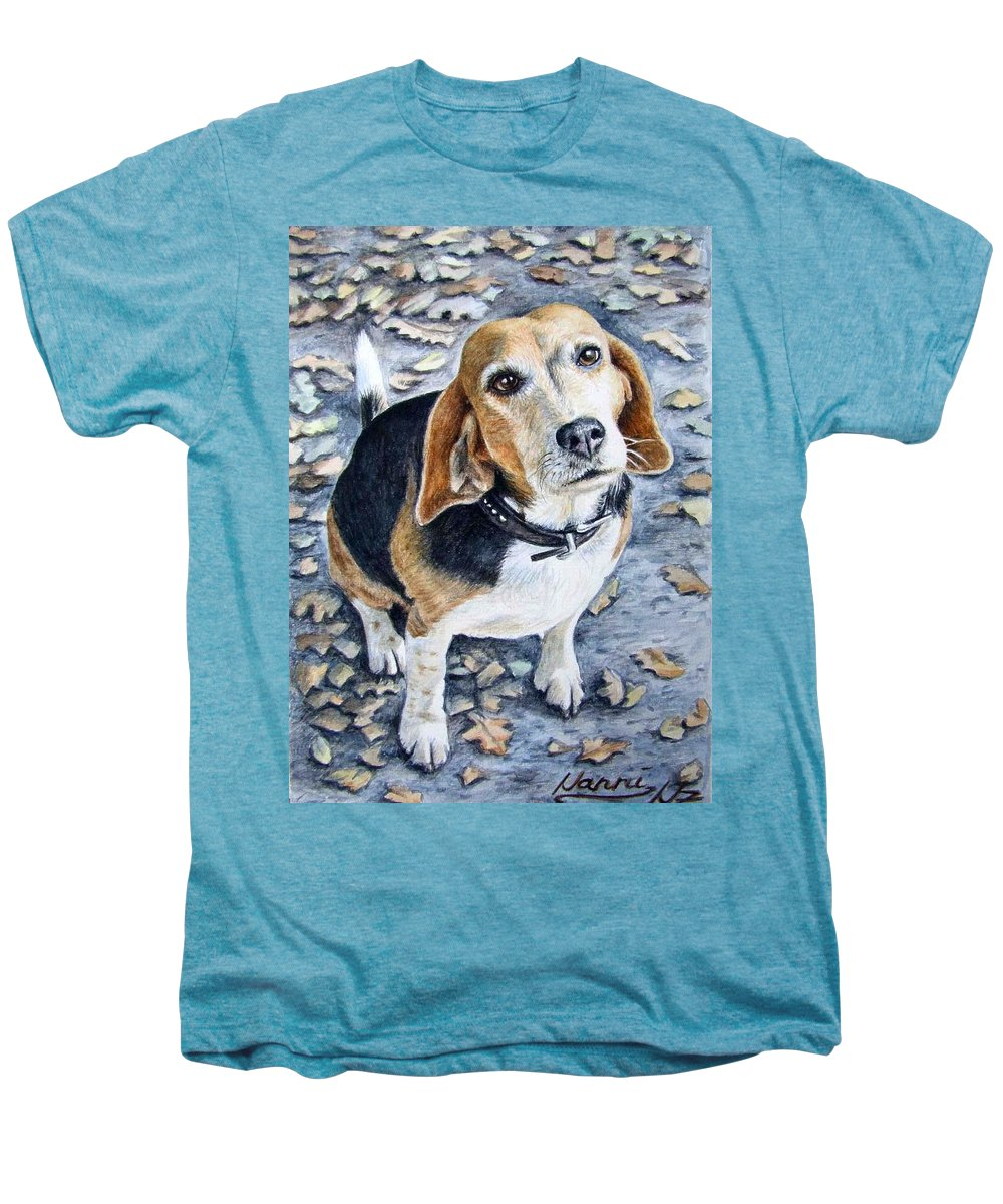 Dog Men's Premium T-Shirt featuring the painting Beagle Nanni by Nicole Zeug