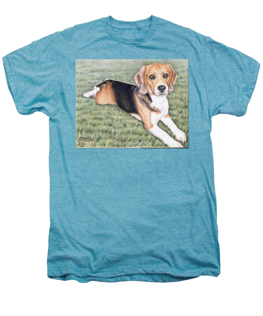 Dog Men's Premium T-Shirt featuring the drawing Beagle by Nicole Zeug