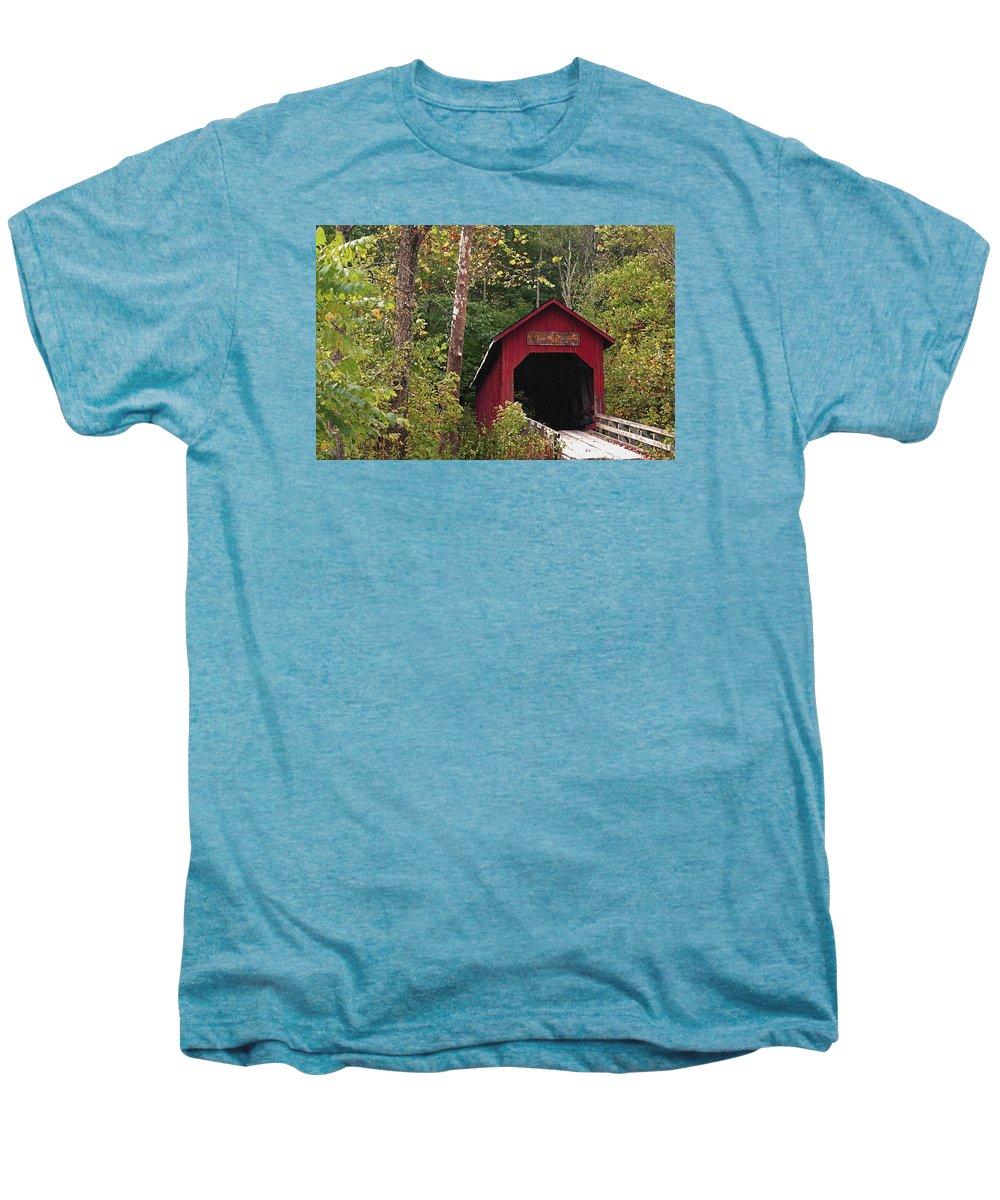 Covered Bridge Men's Premium T-Shirt featuring the photograph Bean Blossom Bridge I by Margie Wildblood