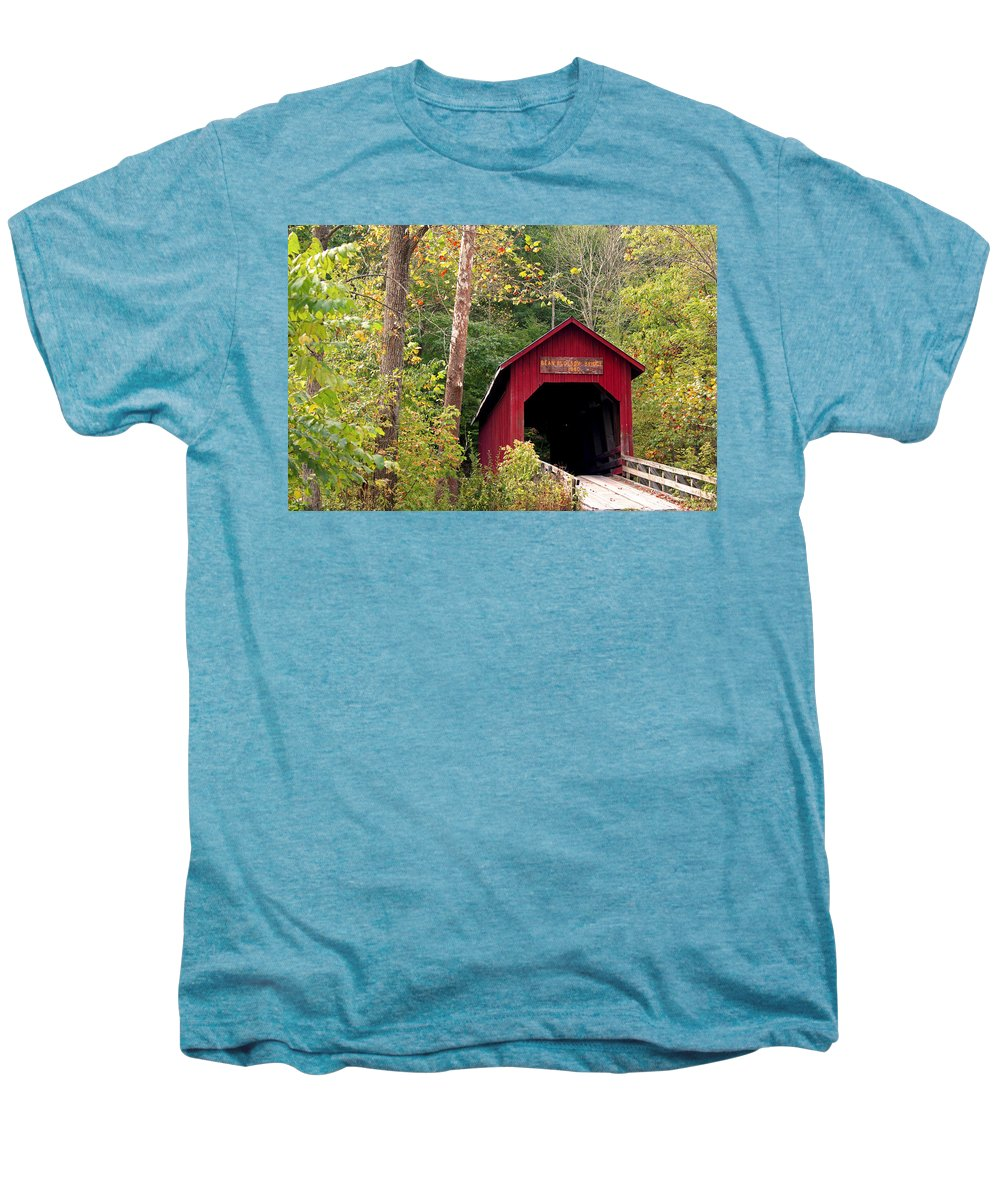 Covered Bridge Men's Premium T-Shirt featuring the photograph Bean Blossom Bridge II by Margie Wildblood