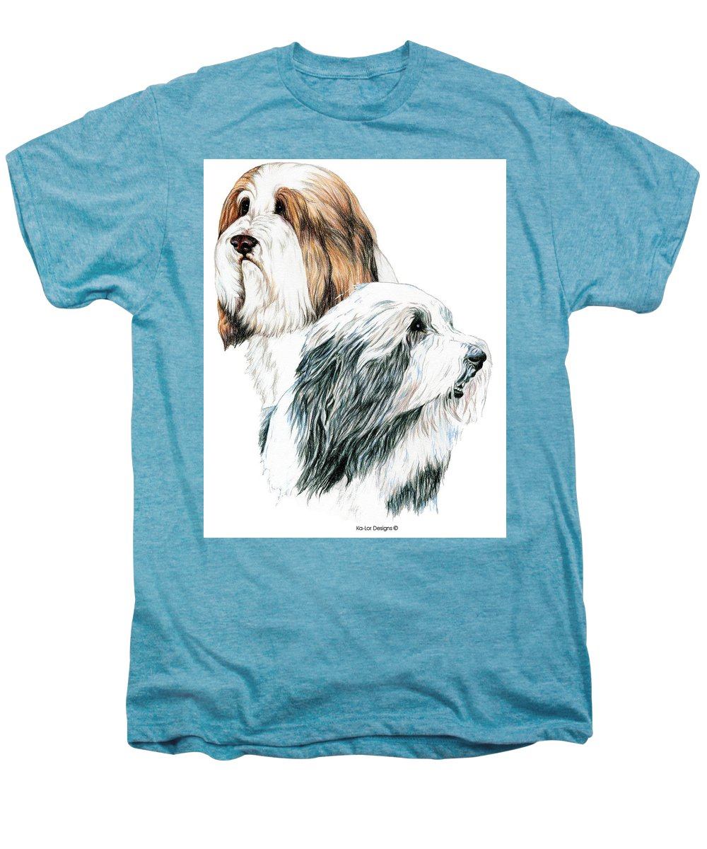 Bearded Collies Men's Premium T-Shirt featuring the drawing Bearded Collies by Kathleen Sepulveda