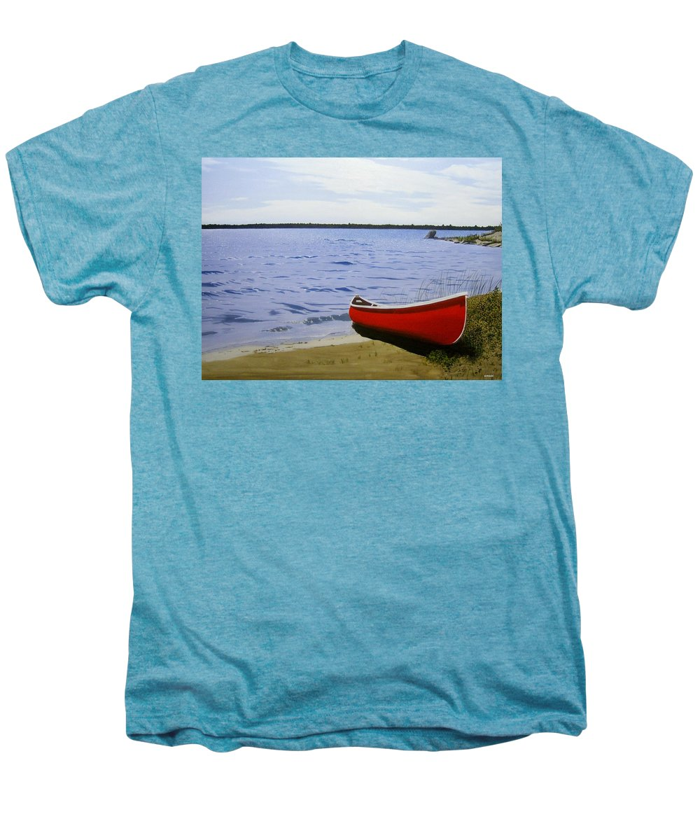 Landscpaes Men's Premium T-Shirt featuring the painting Beaultiful Red Canoe by Kenneth M Kirsch
