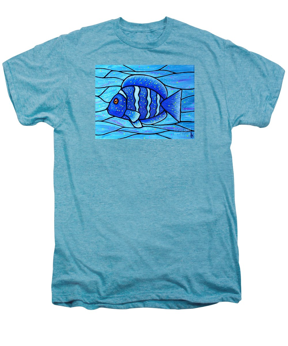 Tropical Fish Men's Premium T-Shirt featuring the painting Beckys Blue Tropical Fish by Jim Harris