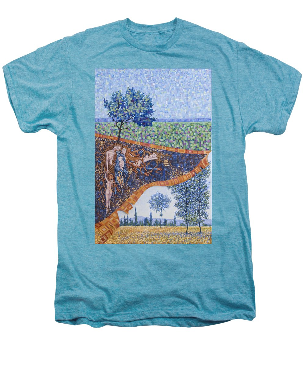 Canvas Men's Premium T-Shirt featuring the painting Behind The Canvas by Judy Henninger