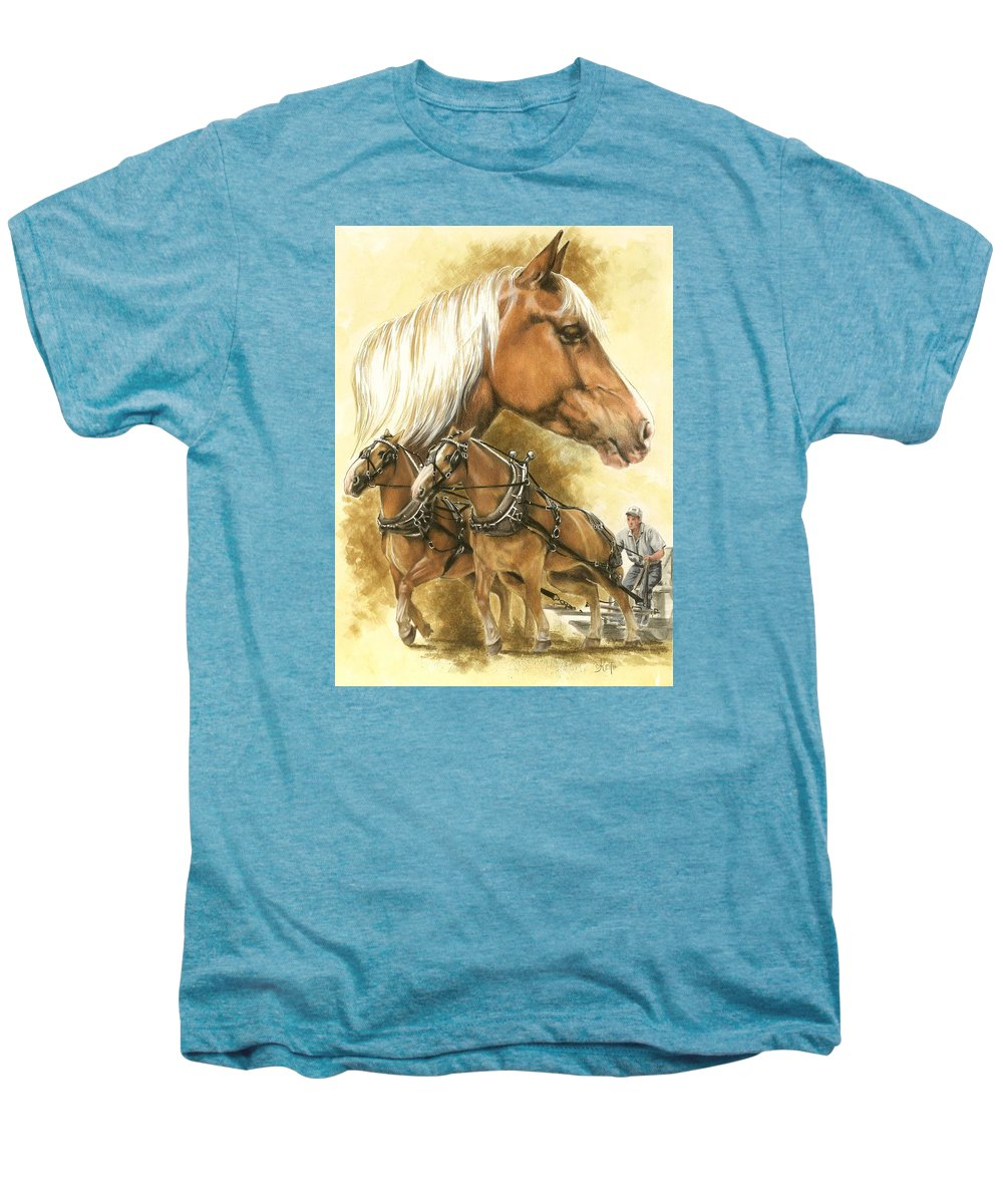 Equus Men's Premium T-Shirt featuring the mixed media Belgian by Barbara Keith