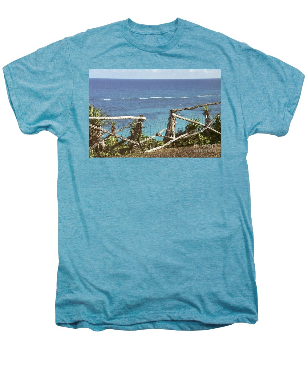 Bermuda Men's Premium T-Shirt featuring the photograph Bermuda Fence And Ocean Overlook by Heather Kirk