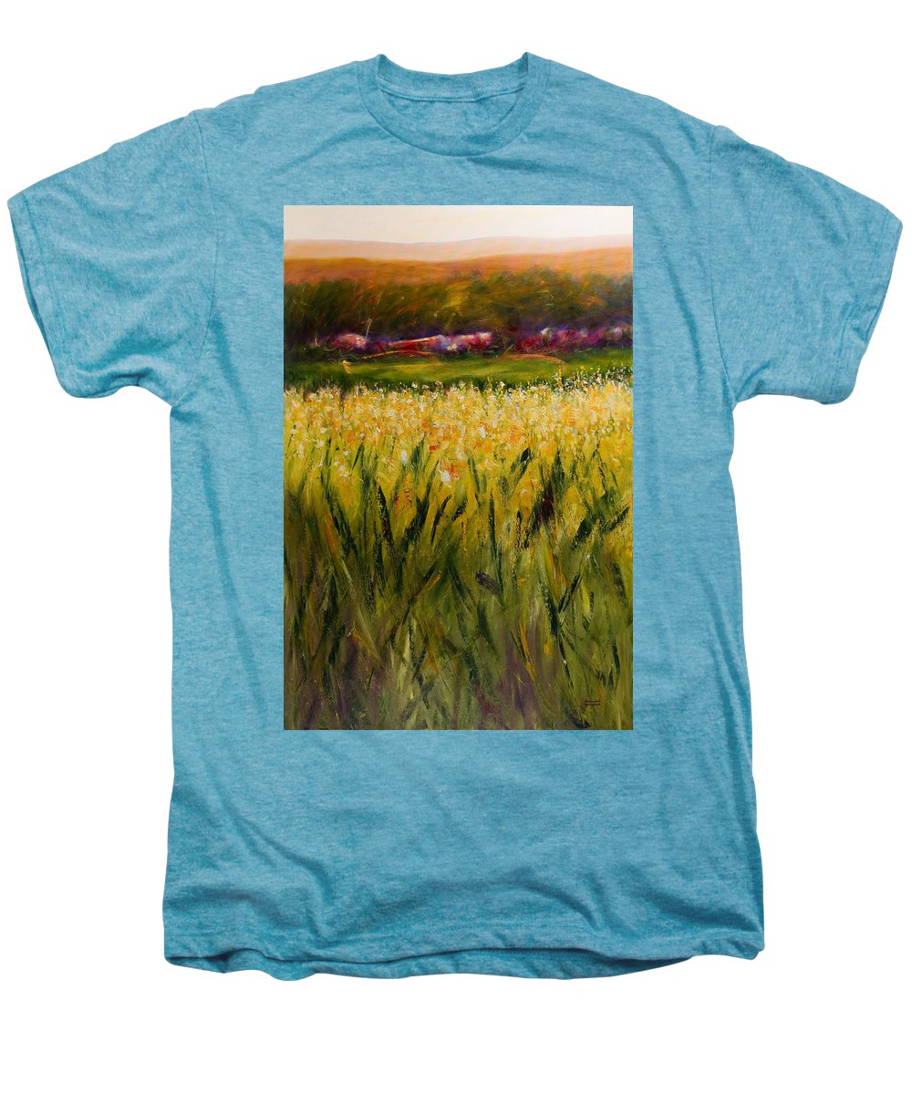 Landscape Men's Premium T-Shirt featuring the painting Beyond The Valley by Shannon Grissom