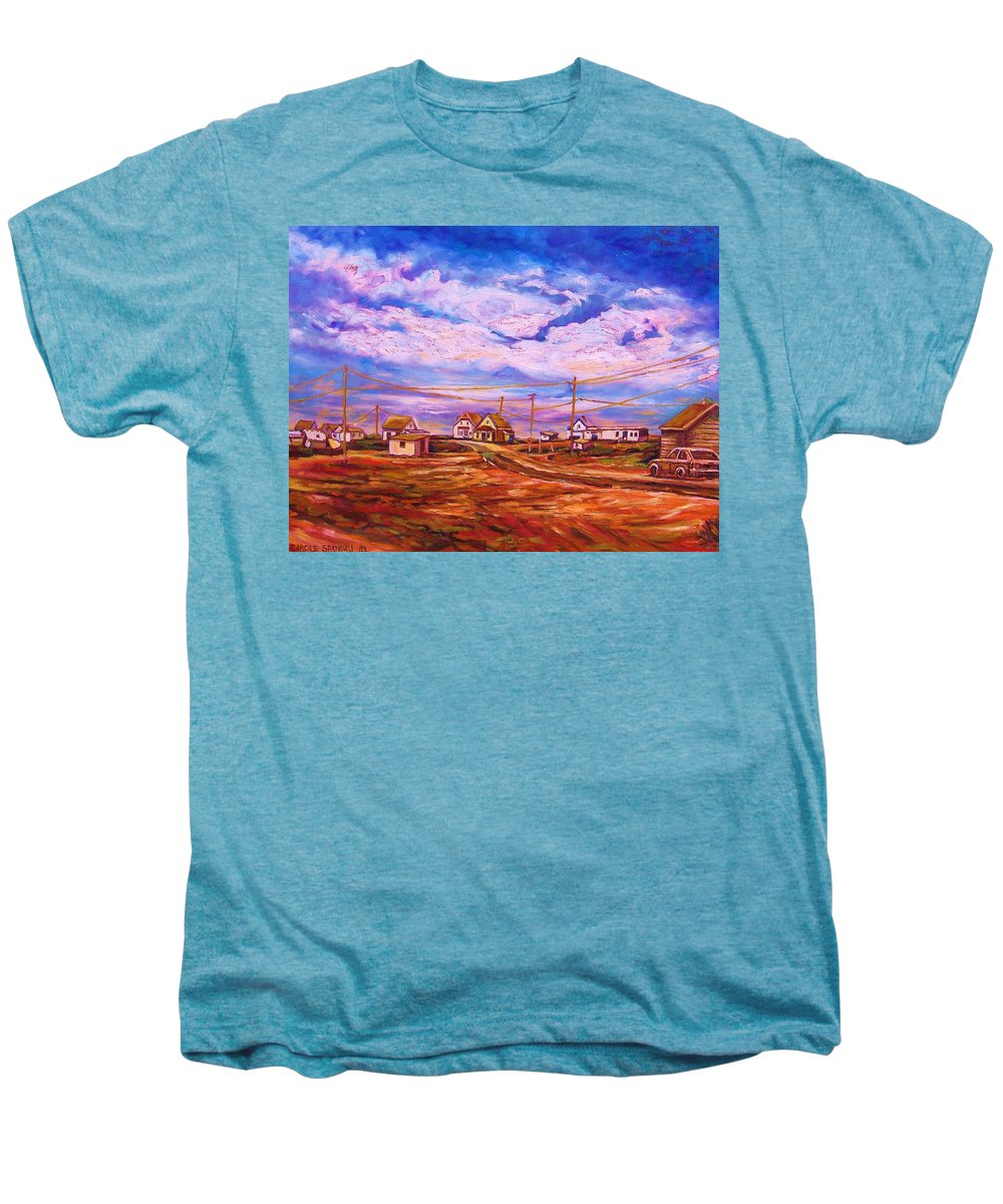Cloudscapes Men's Premium T-Shirt featuring the painting Big Sky Red Earth by Carole Spandau