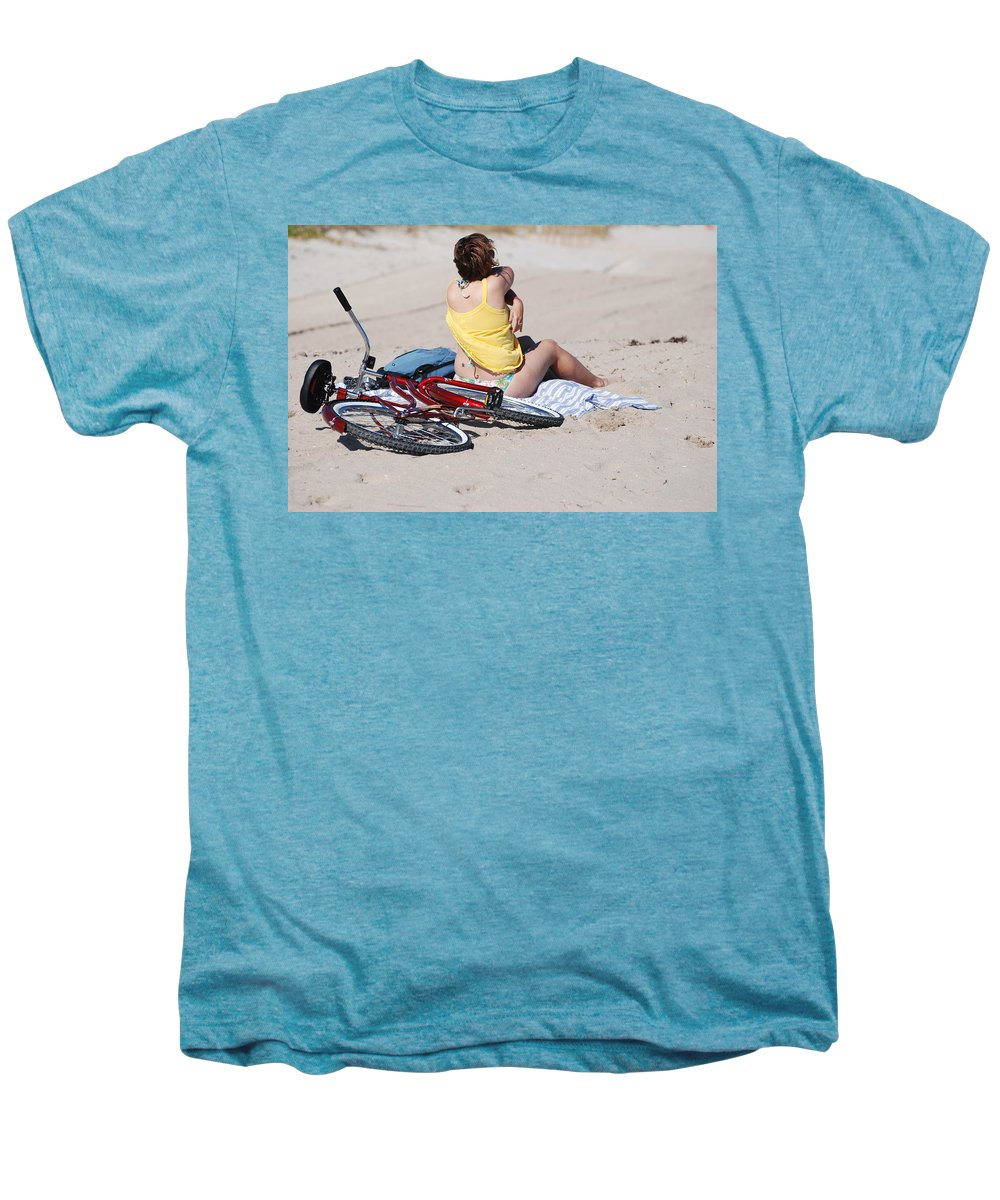 Red Men's Premium T-Shirt featuring the photograph Bike On The Beach by Rob Hans