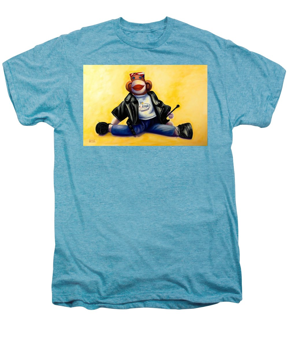 Sock Monkey Brown Men's Premium T-Shirt featuring the painting Biker Dude Made Of Sockies by Shannon Grissom