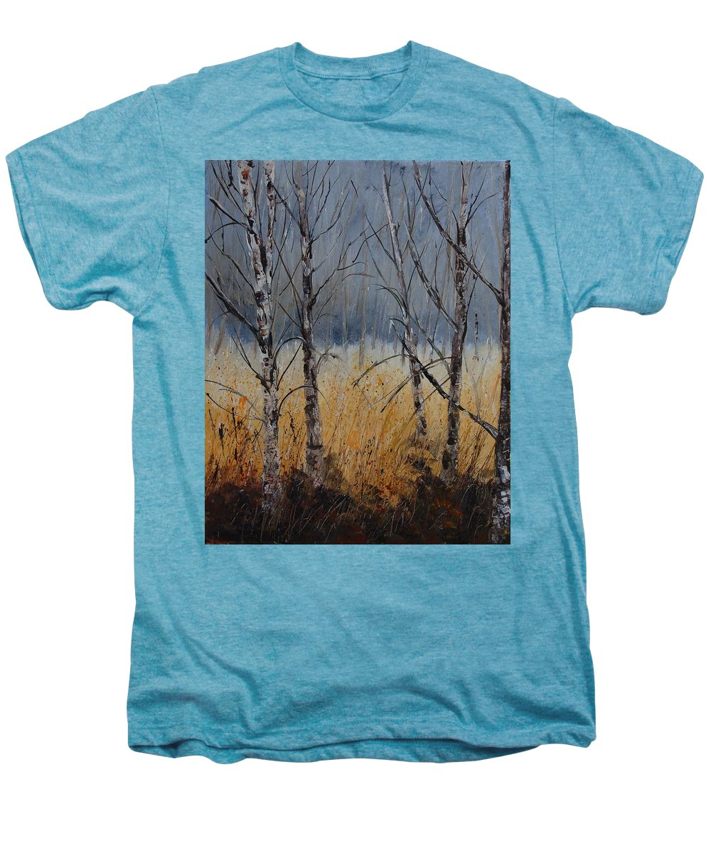 Winter Men's Premium T-Shirt featuring the painting Birch Trees by Pol Ledent