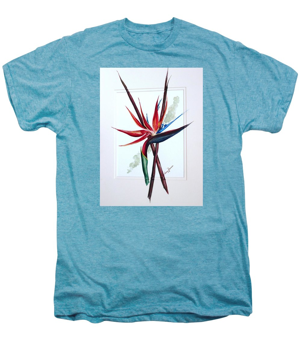 Floral Tropical Caribbean Flower Men's Premium T-Shirt featuring the painting Bird Of Paradise Lily by Karin Dawn Kelshall- Best