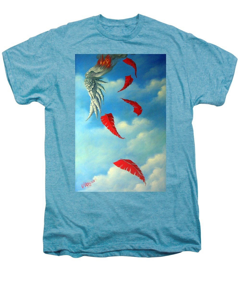 Surreal Men's Premium T-Shirt featuring the painting Bird On Fire by Valerie Vescovi