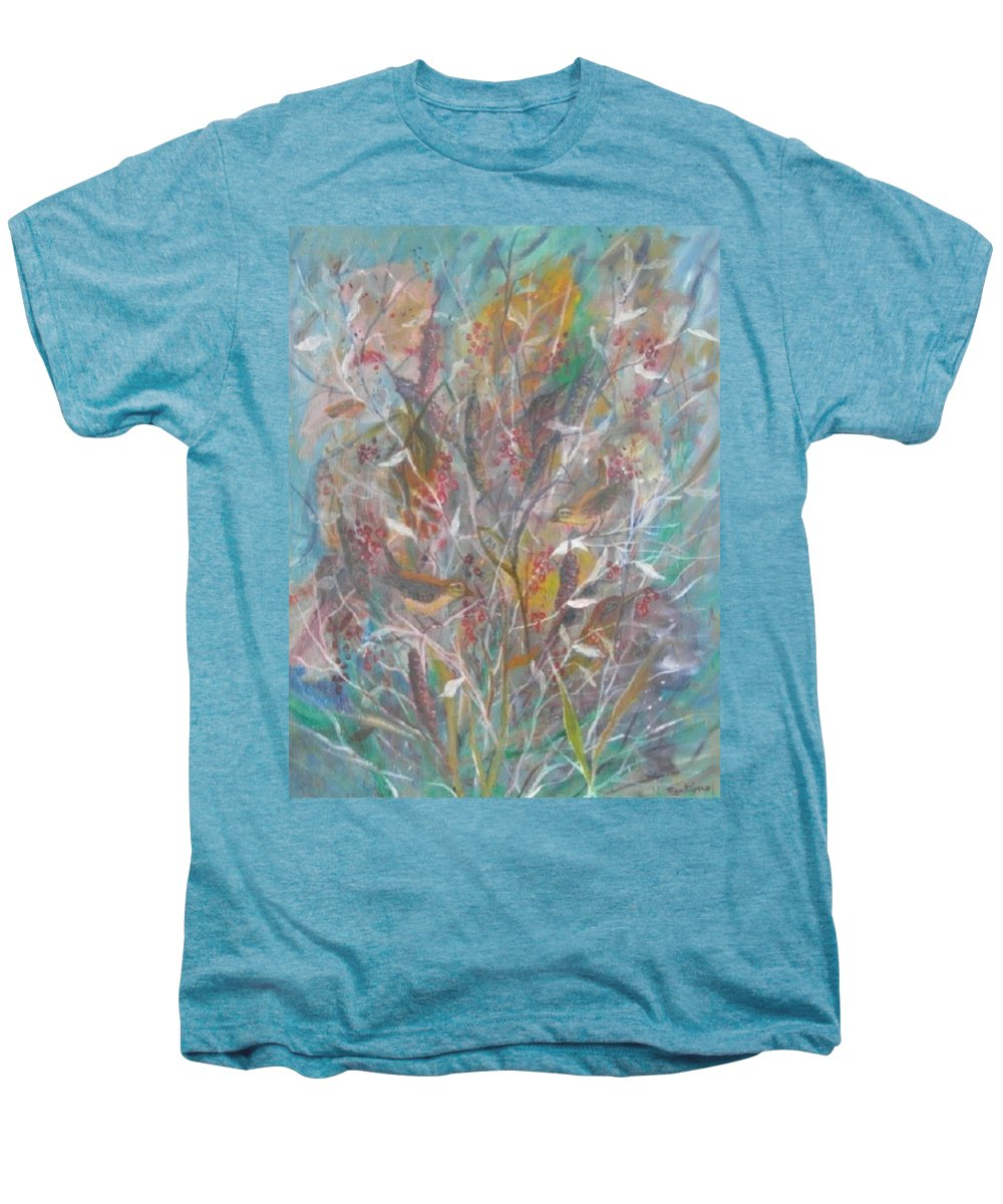 Birds Men's Premium T-Shirt featuring the painting Birds In A Bush by Ben Kiger