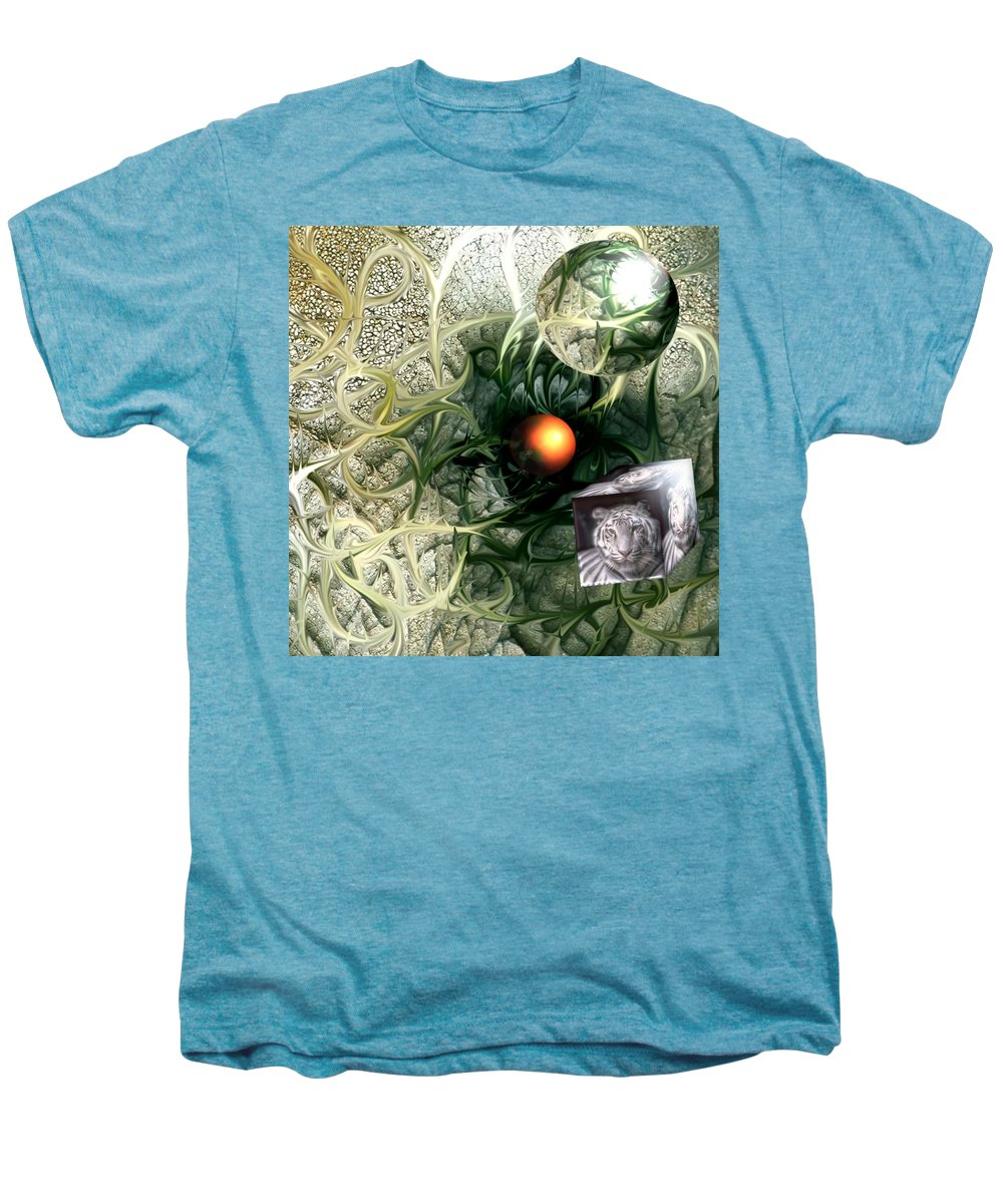 Abstract Nature Red Birth Tiger Spheres Wire Men's Premium T-Shirt featuring the digital art Birth by Veronica Jackson