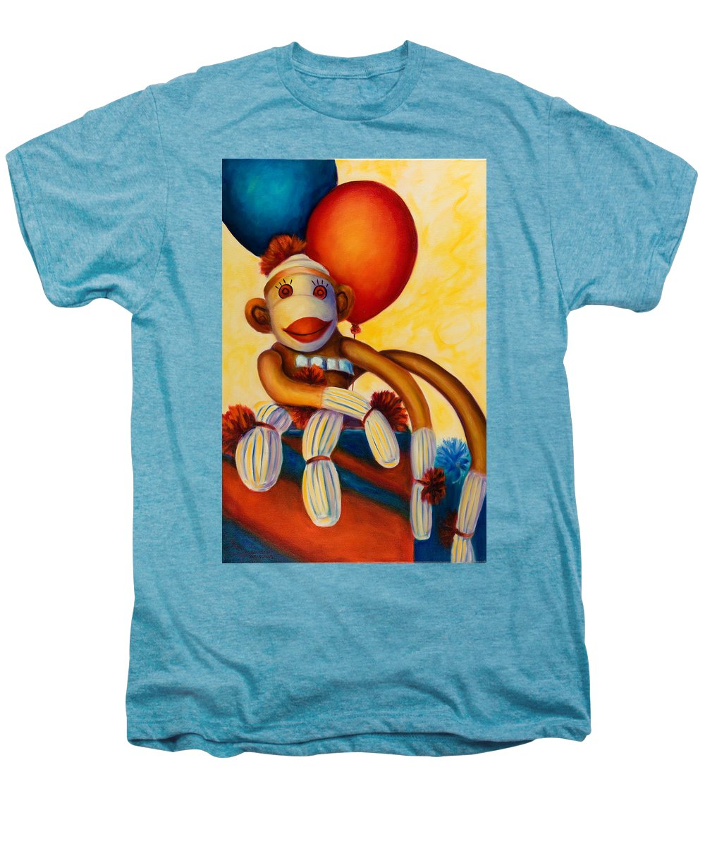 Sock Monkey Brown Men's Premium T-Shirt featuring the painting Birthday Made Of Sockies by Shannon Grissom