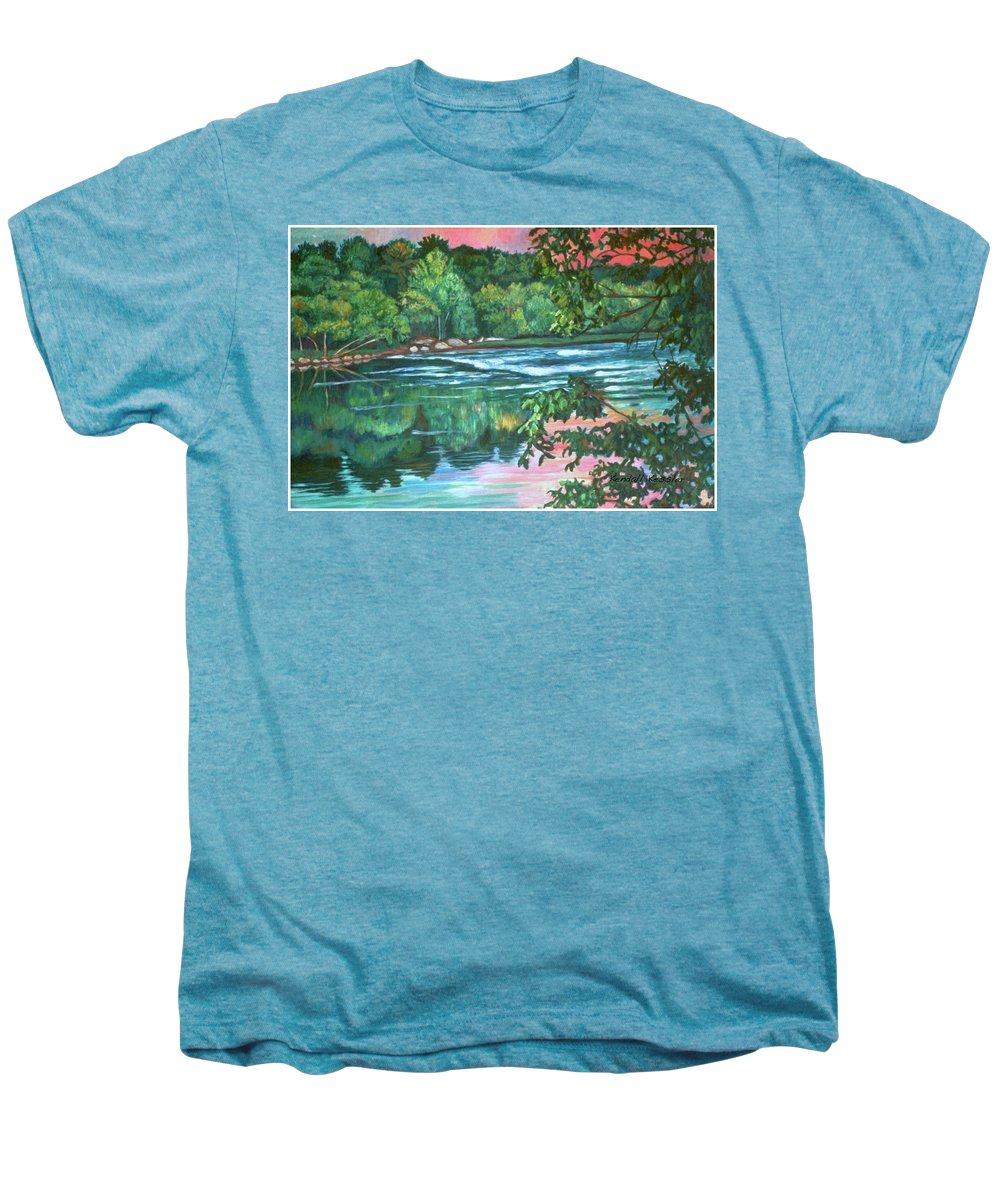 River Men's Premium T-Shirt featuring the painting Bisset Park Rapids by Kendall Kessler