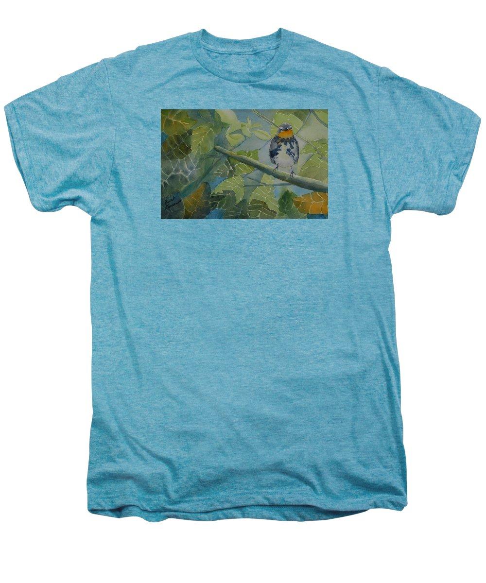 Bird Men's Premium T-Shirt featuring the painting Blackburnian Warbler I by Ruth Kamenev