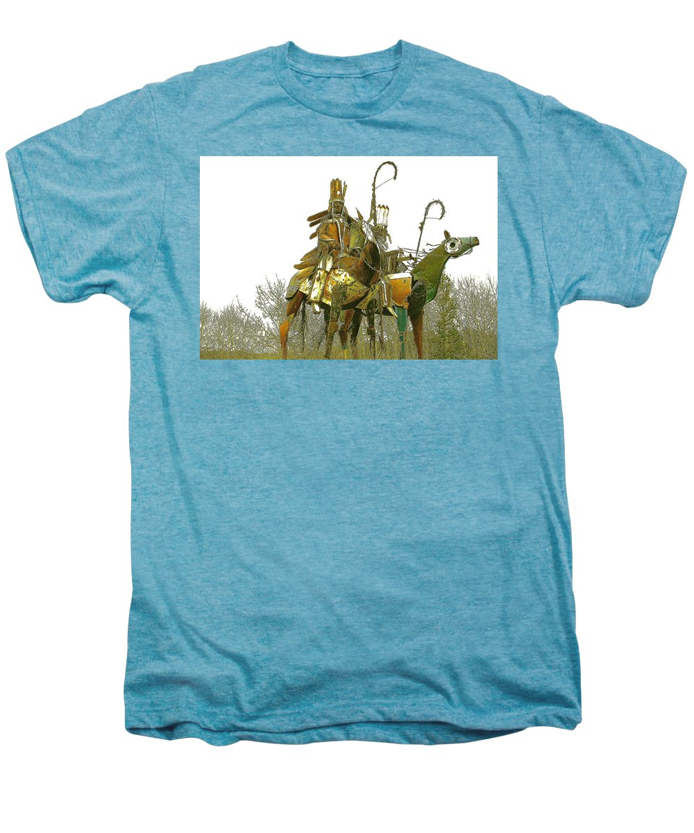 Native American Men's Premium T-Shirt featuring the photograph Blackfeet Wariors by Nelson Strong