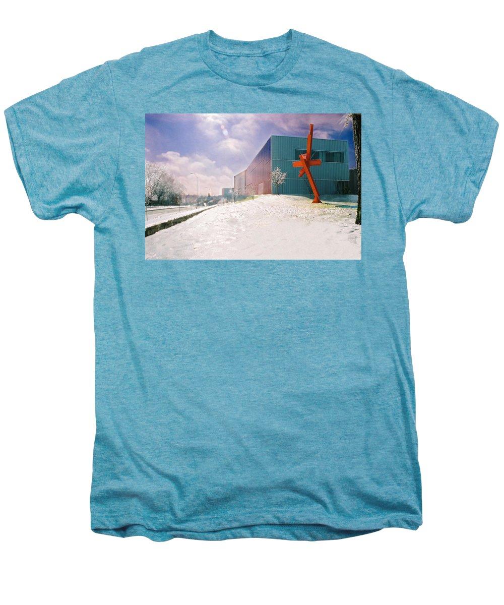 Landscape Men's Premium T-Shirt featuring the photograph Bloch Building At The Nelson Atkins Museum by Steve Karol