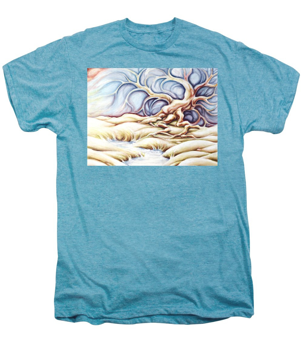 Acrylic Painting Men's Premium T-Shirt featuring the painting Blonde And Blue by Jennifer McDuffie