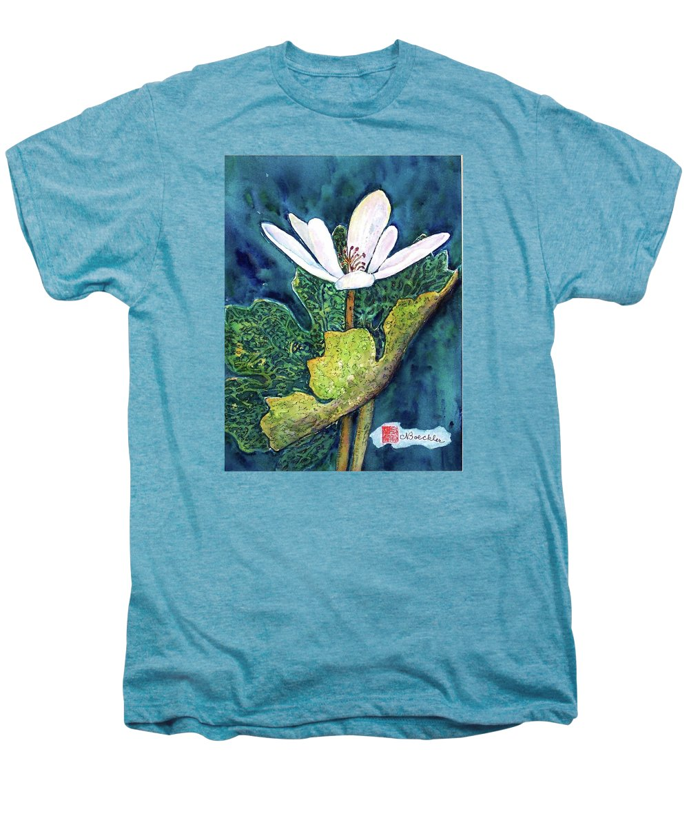 White Flower Men's Premium T-Shirt featuring the painting Blood Root by Norma Boeckler